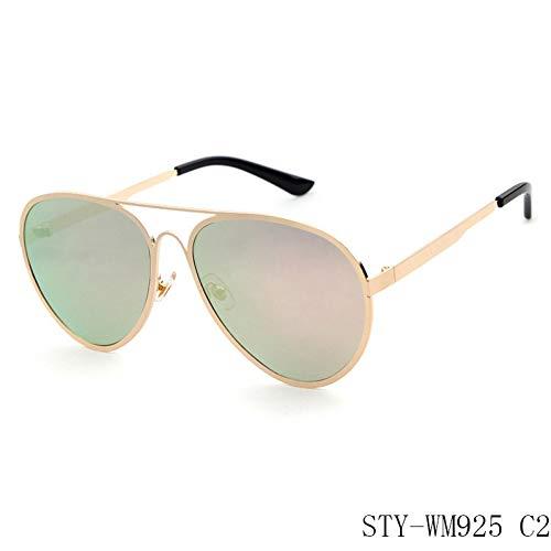 Taiyangcheng Nuevas gafas de sol de Hombre para Mujer Metal Big Frame,C2