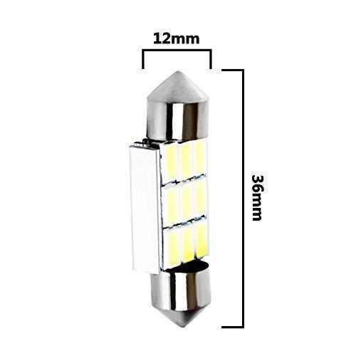 PI Lampada automatica Canbus festone da 5 pacchi 36 mm 39 mm 41 mm 41 cm C10 W C5W 9 Smd 5630 5730 Led senza errori Lampadine interne per auto lampadina senza errore Bianco 12V (Emissione del colore: