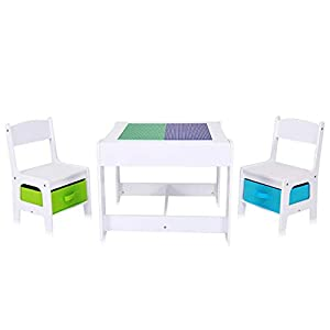 Baby Vivo Kindersitzgruppe Kindertischgruppe Kindermöbel Kinderzimmer Set mit multifunktionalem Tisch und 2 Stühlen aus…