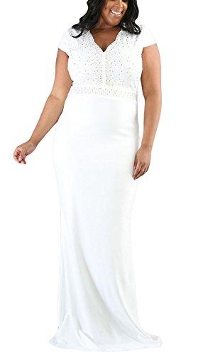 La vogue Damen mit Diamant Festkleid Abendkleid Plus Size Weiß ...