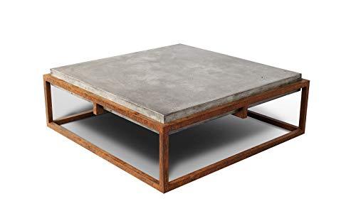 Blok Tisch, quadratisch, Beton und Metall, Antik-Optik, rostfarben