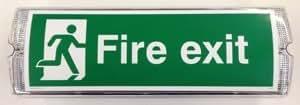 """safetysignsupplies–""""Fire Exit Flèche sans panneau–Lumineux–Dimensions: Largeur: 355mm (35,6cm): Hauteur: 115(11,4cm)"""