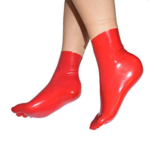 Rubberfashion kurze Latex Zehen Socken, Latexzehensocken bis zum Knöchel nicht chloriert für Frauen und Herren Menge: 1 Paar rot L