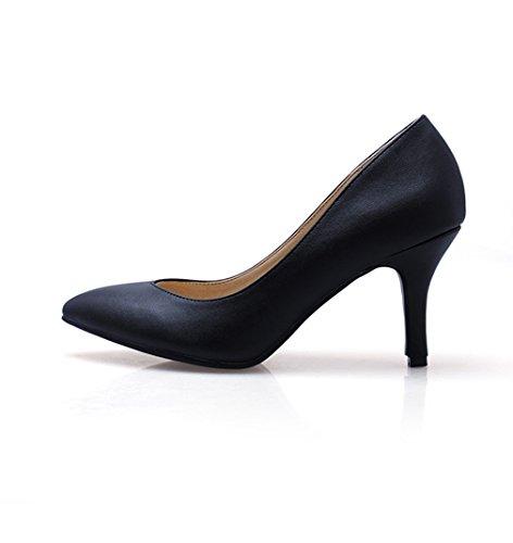 Klassisch Ol Einfach Damen Spitz Schwarz Stiletto High Pumps Atmungsaktiv heels Bequem On Zehen Elegant Slip Strapazierfähig Rutschhemmend zwwSYxBqU
