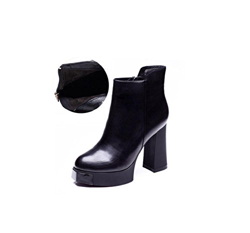 YYH Bottes courte Chunky cuir véritable femme talons velours Martin nues bottes Black