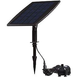 ZYYBRE Bomba De Agua Solar,Bomba De Agua Solar Pozo,Paneles Solares De Silicio Monocristalino, Alta Eficiencia, 4 Boquillas para 4modos De Agua - Ideal para Estanques De JardíN
