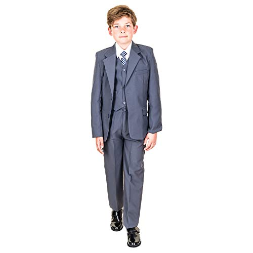 Hei Mei 5tlg. Jungen Fest Anzug Kommunionsanzug Smoking Kinderanzug für viele Festliche Anlässe M133gr Grau 12/140 / 146