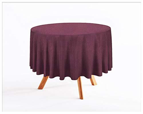 Tischdecke Wasserabweisend/Lotuseffekt (Melange Pflaume 215, Rund Ø 140cm) Leinenoptik Tischtuch mit pflegeleicht Fleckschutz, Rund, Farbe & Größe wählbar ()