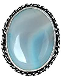 Waama Jewels Traditional & Ethnic Silver Plated Finger Ring Agate Stone For Women & Girls (Adjustable) - B0785HQX97