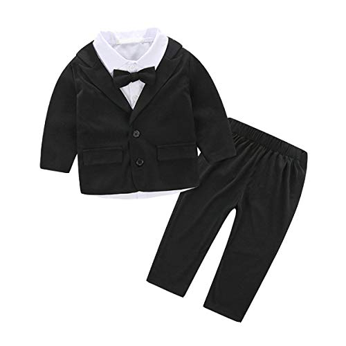 Fairy Baby Baby Junge Gentleman Hochzeitsanzug Formal Smoking Taufe Outfit Size 80(12-18 Monate) (Schwarz)