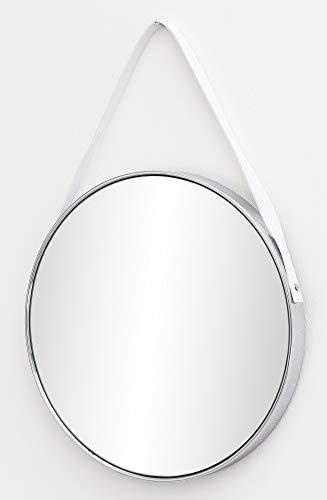 FineBuy Wandspiegel FB15951 42x61x4 cm Spiegel mit Rahmen Silber Flurspiegel Rund | Hängespiegel Flur zum Aufhängen Groß | Garderobenspiegel Wand Modern | Dekospiegel Wohnzimmer Schlafzimmer