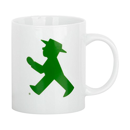 """Ampelmann Kaffeebecher """"Frühaufsteher Classic"""" weiß mit Geher/Steher, Henkelbecher Kaffeetasse Kaffeepott"""