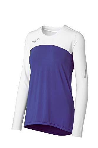 Mizuno Techno VII Damen Volleyball-Trikot, langärmelig, Violett-Weiß, Größe XXL