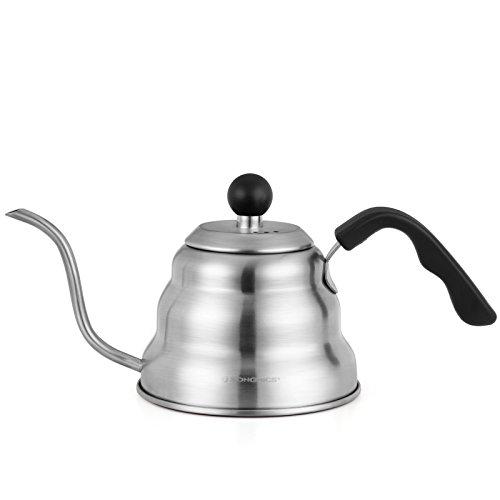 SONGMICS Wasserkocher, Handbrüh-Kaffeekessel mit Schwanenhals, Aufgusskanne, aus 304 Edelstahl, Kaffeekocher, 1 Liter Teekanne, mit hitzeisolierendem Griff, GCP40SV