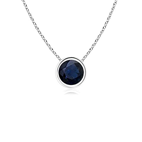 Bezel Set Round Blue Sapphire Solitaire Pendant in 14K White Gold (5mm Blue Sapphire)