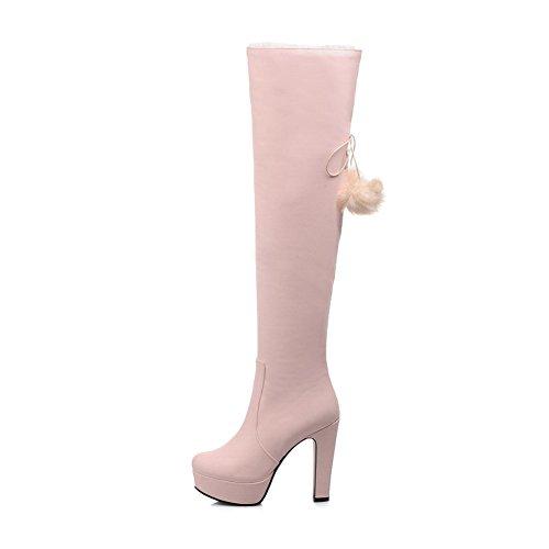 AgooLar Damen Hoch-Spitze Reißverschluss Hoher Absatz Rund Zehe Stiefel Pink