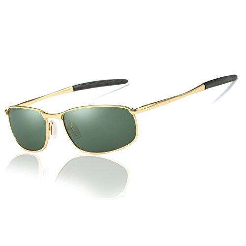 Hat Panda Sport Polarisierte Fahren Sonnenbrille Rechteckig Unisex Al-Mg Metall Rahme Ultra Leicht (Grün)