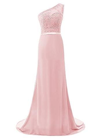 fethying Chiffon One Shoulder Abendkleider Lang Promkleider Brautjunferkleid-Rosa-48