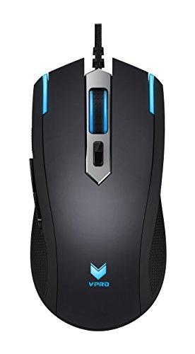 Rapoo VPRO V26 LED Gaming Maus (umschaltbarer 3000 DPI Sensor, Beleuchtung 16 Mio Farben, ergonomisches Design, On-Board Speicher) schwarz