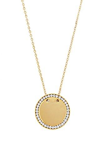 Remi Bijou - Wunderschöne Kette Halskette Anhänger - Gravurplatte Gravur Münze Rund Scheibe - Gold Farbe Zirkonia Strass