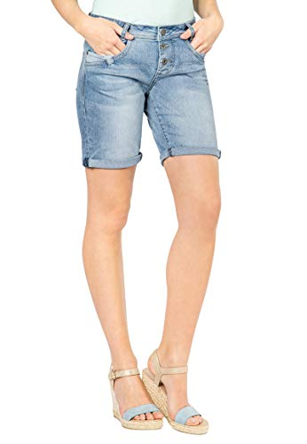 Fresh made jeans con taglio boyfriend firmati bermuda | pantaloncini di jeans da donna effetto used blu xl