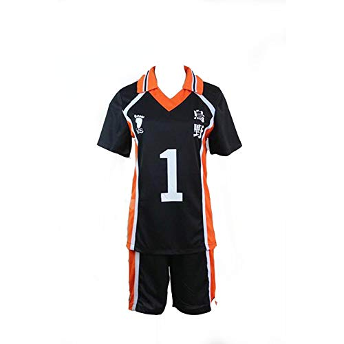 Junge School Kostüm Uniform - Haikyuu!! Karasuno High School Uniform Jersey No.1 Daichi Sawamura Shirts Cosplay Kostüm (XXL)