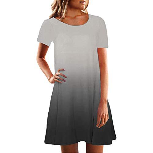 LUGOW Minikleid Strandkleid Damen Sommerkleider Günstig Farbverlauf Anpassen FreizeitKleider Schlinge PartyBallkleid Abendkleider BlusenkleidCocktailkleider(Small,Grau A) Designer Dress Form Set