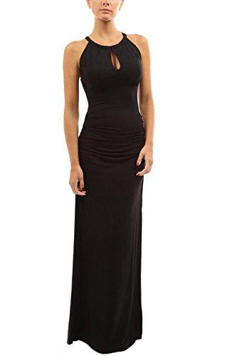 Damen ärmellose geraffte Maxi Abendkleid geschlitzt Black