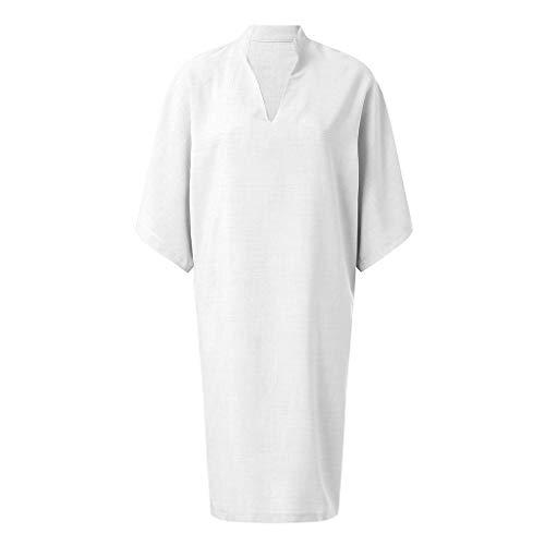 VECOLE Damenoberteile Summer Damen Casual Baumwolle Kurzarm V-Ausschnitt Lose Einfarbig Minikleid Rock Kleiden(Weiß,M) -