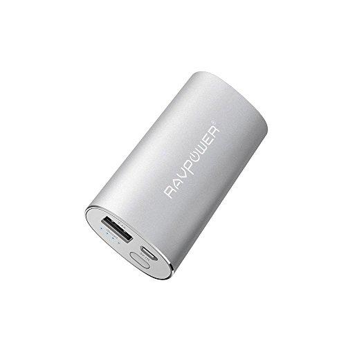 RAVPower 6700mAh 2.4A Ausgang iSmart Externer Akku Pack Powerbank USB Ladegerät, Silber (Akku Pack Laptop Externer)