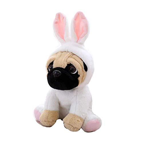 FONGFONG Weich Plüschtier Mops Hund mit Kostüm Kuscheltier 20 cm Gefüllte Puppe für Dekorieren Kinder Spielzeug Geschenke Kaninchen