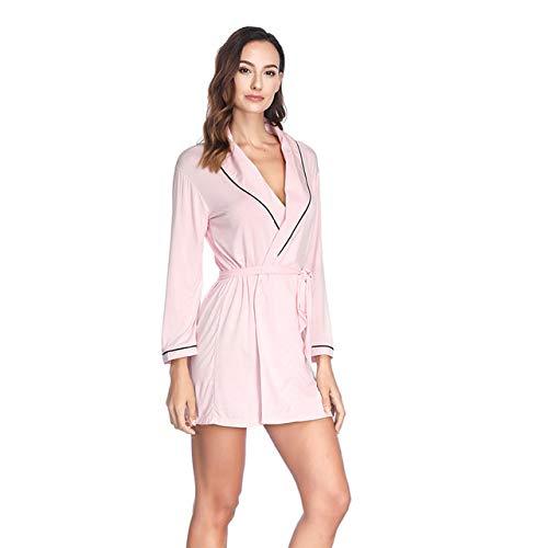 OLLOLCCY Damen Morgenmantel Kimono Satin Kurz Robe Bademantel Nachtwäsche Sleepwear V Ausschnitt mit Gürtel,Pink - Satin Kurze Robe