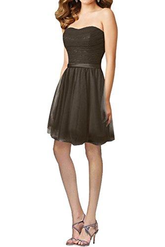 Gorgeous Bride Hochwertig Lang Traegerlos A-Linie Satin Tuell Spitze Abendkleider Festkleid Ballkleid Schokolade-Kurz