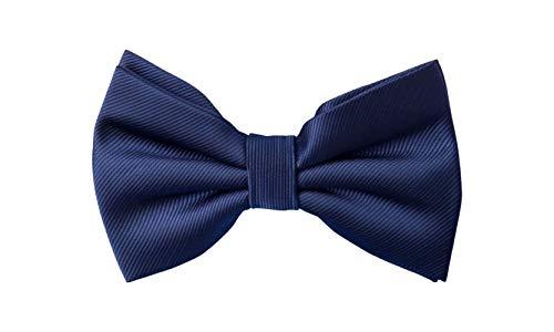 Fabio Farini elegante, dunkelblaue Herren Fliege, vorgebunden, 12 x 7 cm