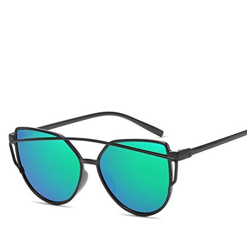 MYTYJ Modemarke Cat Eye Sonnenbrille Frauen Doppelstrahlen Sonnenbrille Weibliche Retro Beschichtung Spiegel Gläser Flachbildschirm Objektiv