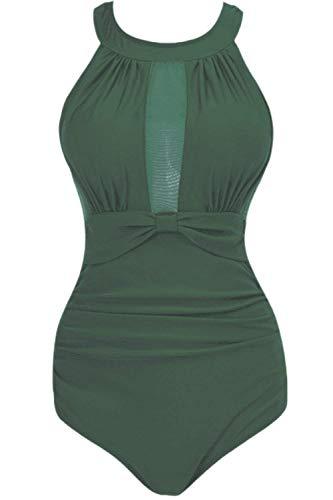 ZHRUI Frauen One Piece Mesh Geraffte Monokini Bademode Badeanzug (Farbe : Armeegrün, Größe : XX-Large)