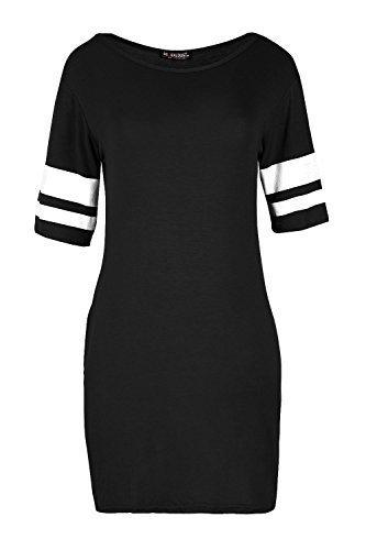 Be Jealous Femmes Uni USA Haut Jersey femmes Baggy Sport Rayures Mancheron Tunique Moulante Noir