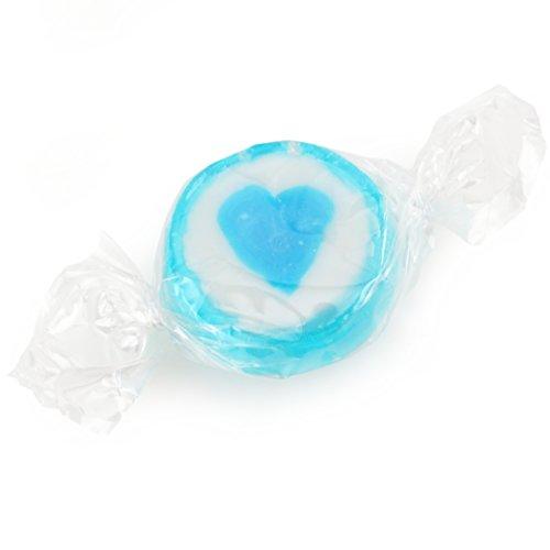 500 g Rocks Herz-Bonbons - süße Tisch-Deko zu Hochzeit Taufe Valentinstag Muttertag Kommunion - Handarbeit zum Naschen - Blau-Weiß - 3