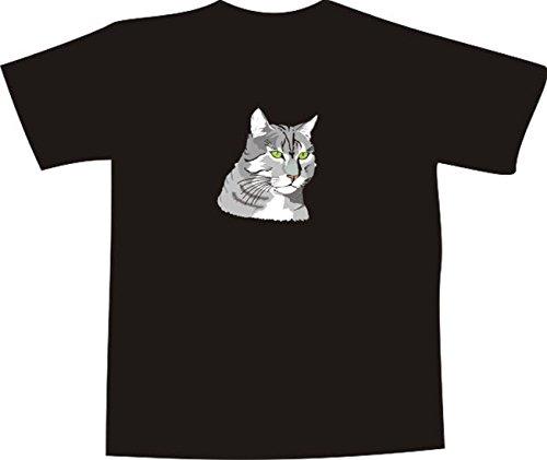 T-Shirt E612 Schönes T-Shirt mit farbigem Brustaufdruck - Logo / Grafik - Comic Design - Portrait von majestätischer Rassekatze Mehrfarbig