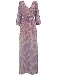 081bb4d7b4a5 pdk Vestito Elegante Donna Fantasia Lungo in Georgette col. Glicine Rosa