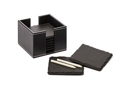 Fiterio 8er Set Glasuntersetzer aus Schiefer - Premium Schieferplatte als Glas Topf Untersetzer in Edler Lederbox - Schiefertafel Servierplatten