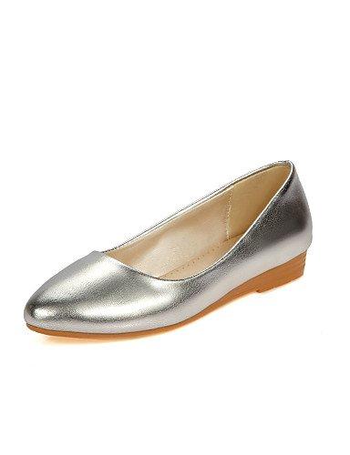 ZQ YYZ Damenschuhe - Ballerinas - L?ssig - Kunstleder - Flacher Absatz - Komfort / Rundeschuh - Silber / Gold golden-us5 / eu35 / uk3 / cn34