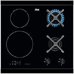 FAURE FGN68468BA - Table de Cuisson Mixte gaz/Induction - 4 Zones - 4600W et 5800W - allumage électronique - 2 boosters - i.