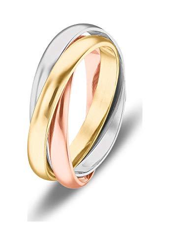 CHRIST Gold Damen-Damenring 585er Gelbgold, 585er Weißgold, 585er Rotgold 54 Tricolor 32005753