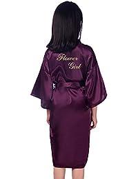 GODGETS Flower Girls Raso Kimono túnicas Boda Dama de Honor Batas Albornoz para niños Ropa de