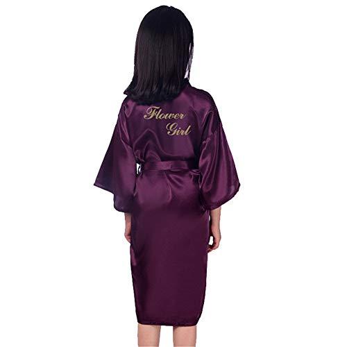 GODGETS Mädchen Morgenmantel Kimono Satin Nachtwäsche Bademantel Kinder mit Blumenmuster für Sleepwear/Party/Hochzeit Dunkelviolett ()