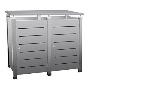 Mülltonnenbox Modell Pacco E Line für zwei 120 ltr. Tonnen in Edelstahloptik