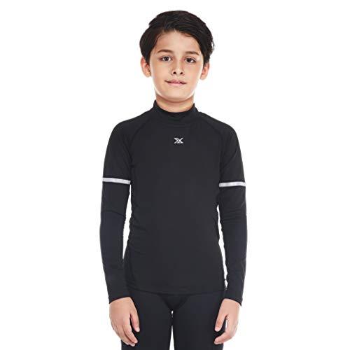 Bwiv maglia termica per bambini e ragazzi manica lunga calcio base layers sportiva a compressione per l'inverno,nero 2,s