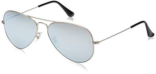 Ray-ban rb3025 aviator occhiali da sole unisex adulto, argento, 58 mm