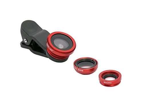PRECORN 3in1 Universal Clip-On rot Makro Weitwinkel Fischauge Objektiv Linse iPhone Samsung uvm. (Smartphone-kamera-objektiv-htc One)